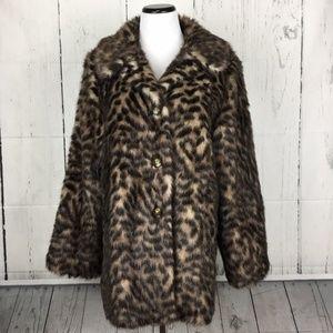 Kristen Blake L Faux Fur Coat Button Front Collar